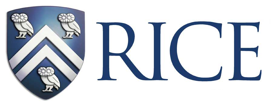 Rice Logo - Shield with the word Rice next to it.